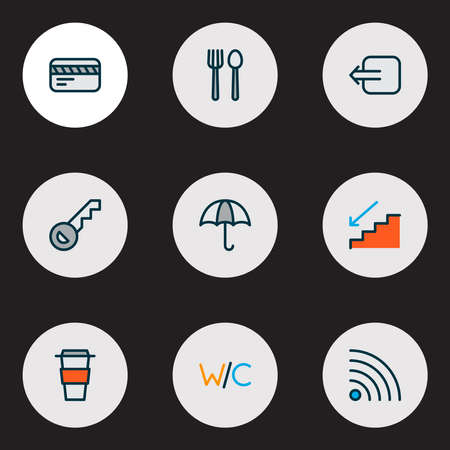 Direction icons colored line set with way out, restaurant, card and other staircase   elements. Isolated  illustration direction icons. Stock fotó