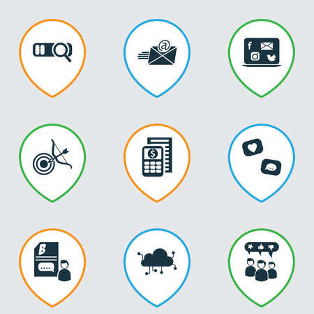 Finance icons set with cloud computing, email marketing, budget calculator and other magnification elements. Isolated vector illustration finance icons.