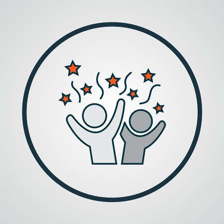 Celebration icon colored line symbol. Premium quality isolated happy people element in trendy style. Illusztráció
