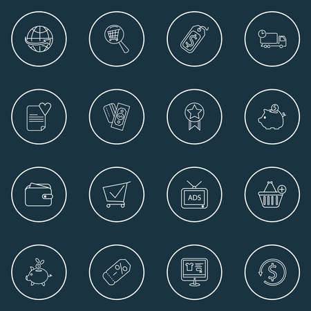 Ecommerce icons line style set with shopping cart, price tag, quality and other discount label elements. Isolated vector illustration ecommerce icons.
