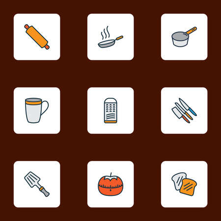 Culinary icons colored line set with sauce pan, mug, rolling pin and other slicer elements. Isolated vector illustration culinary icons.