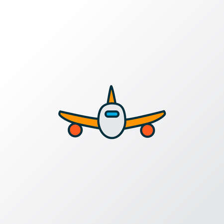 Plane icon colored line symbol. Premium quality isolated aircraft element in trendy style. Stock fotó - 140116531