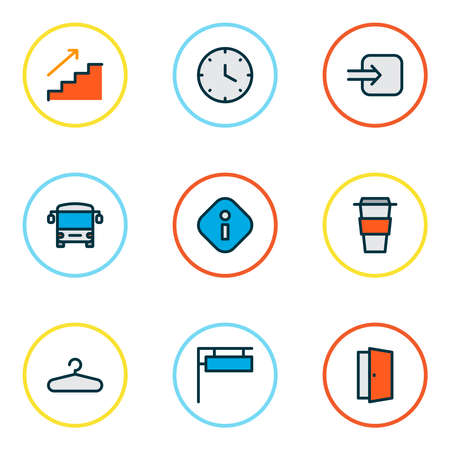 Navigation icons colored line set with way in, clock, info and other autobus elements. Isolated illustration navigation icons. Imagens
