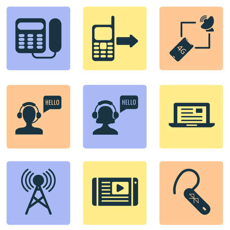 Connection icons set with wireless tower, article on tv, outgoing and other headset elements. Isolated vector illustration connection icons. Ilustración de vector