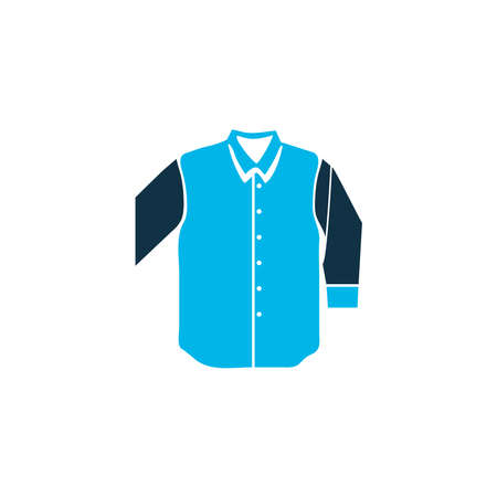 Mid sleeve shirt icon colored symbol. Premium quality isolated apparel element in trendy style.