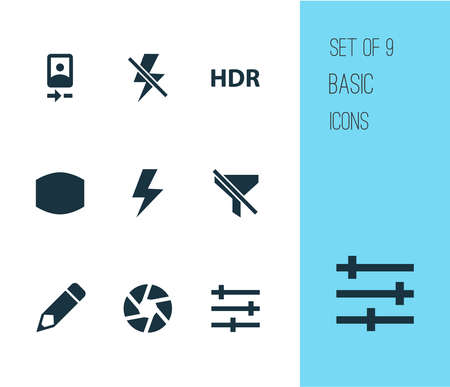 Photo icons set with tune, shutter, camera front and other no filter elements. Isolated illustration photo icons.