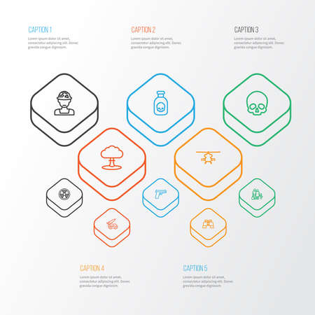 Warfare icons line style set with refugee, poison, soldier and other fugitive elements. Isolated vector illustration warfare icons. Standard-Bild - 140400830
