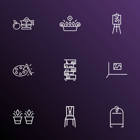 Home decoration icons line style set with plant pots, clothing rack, wall picture and other painting elements. Isolated illustration home decoration icons.