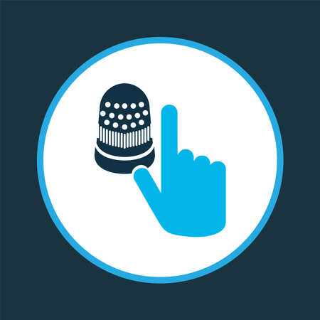 Thimble icon colored symbol. Premium quality isolated protect element in trendy style.