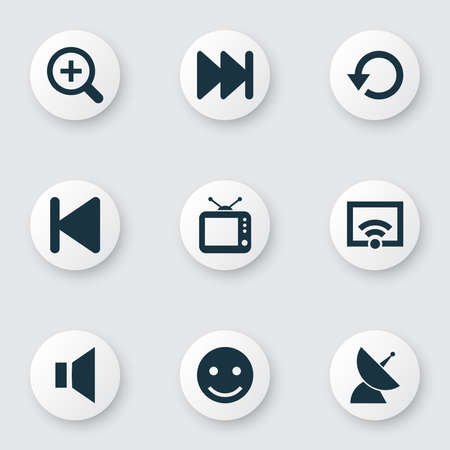 Media icons set with replay, emoji, wifi and other television elements. Isolated illustration media icons.