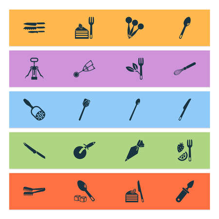 Utensil icons set with tomato knife, corkscrew, cutlery and other turner elements. Isolated vector illustration utensil icons.