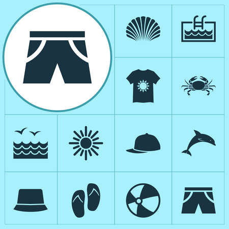 Summer icons set with panama, baseball cap, shell and other conch elements. Isolated vector illustration summer icons.