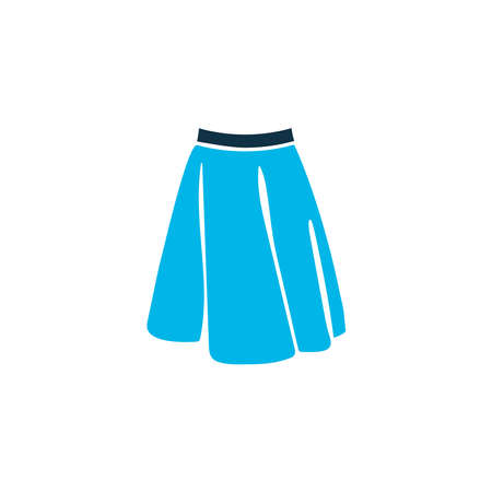 Apparel icon colored symbol. Premium quality isolated mid length skirt element in trendy style.