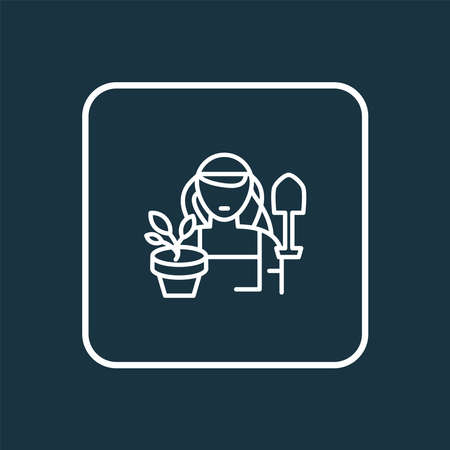 Gardener woman icon line symbol. Premium quality isolated agriculture element in trendy style.