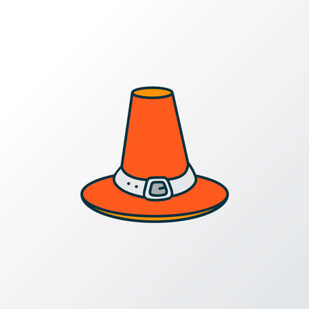 Thanksgiving hat icon colored line symbol. Premium quality isolated pilgrim hat element in trendy style.