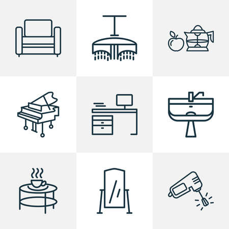 House icons line style set with modern armchair, wash stand, desk squeezer elements. Isolated vector illustration house icons.
