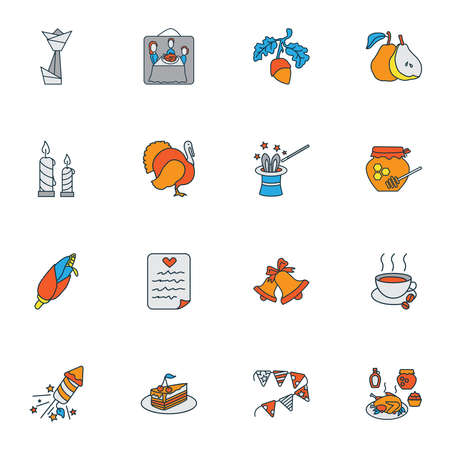 Thanksgiving icons colored line set with acorn, wish list, honey and other maize elements. Isolated vector illustration thanksgiving icons.