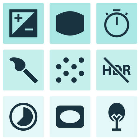 Picture icons set with vignette, exposure, timelapse and other hdr off elements. Isolated vector illustration picture icons.