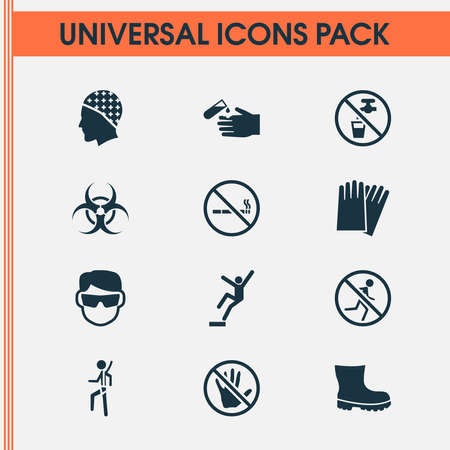 Protection icons set with eyeglasses, downfall, corrosive chemical and other nuclear elements. Isolated illustration protection icons. Stock Photo