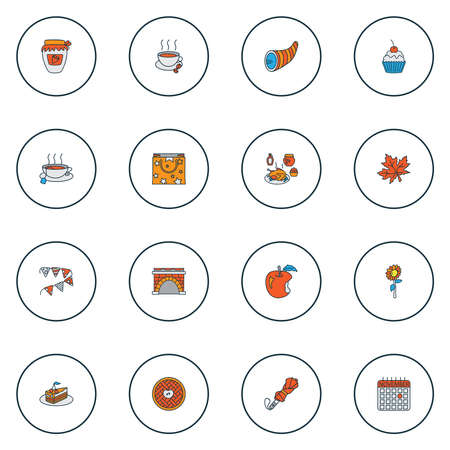 Celebration icons colored line set with umbrella, fireplace, cupcake and other bunting elements. Isolated vector illustration celebration icons.