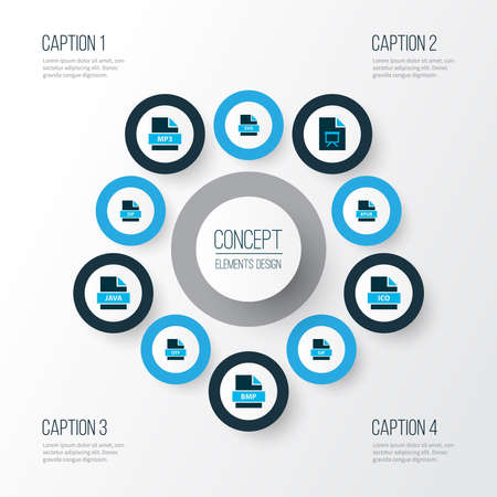 File icons colored set with file ico, file presentation, file zip and other archive elements. Isolated illustration file icons.