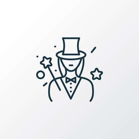 Illusionist icon line symbol. Premium quality isolated magician woman element in trendy style.