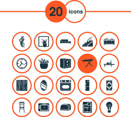 Home decoration icons set with daybed, wood texture, seat and other chair elements. Isolated vector illustration home decoration icons.