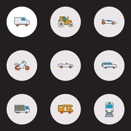 Transport icons colored line set with sport car, train, van and other car elements. Isolated illustration transport icons.