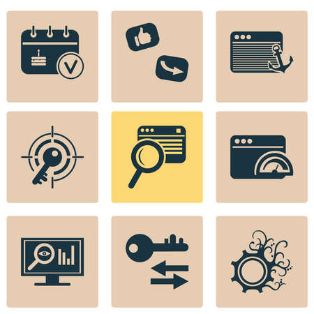 Analytics icons set with events calendar, sort keywords, target keyword and other file elements. Isolated illustration analytics icons.