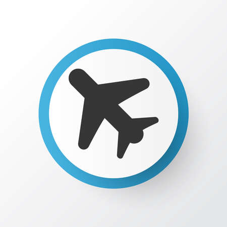 Airplane in the sky icon symbol. Premium quality isolated flight element in trendy style. Stok Fotoğraf