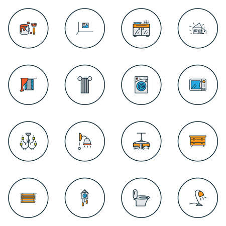 Decor icons colored line set with wall picture, cuckoo clock, table lamp and other ceiling elements. Isolated vector illustration decor icons.