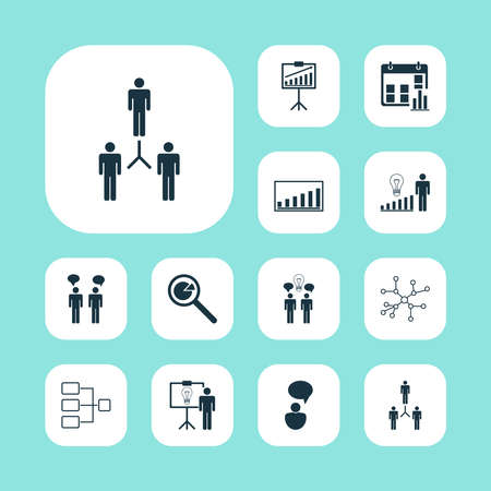 Management icons set with statistical report, management improvements, communication and other team meeting elements. Isolated vector illustration management icons.
