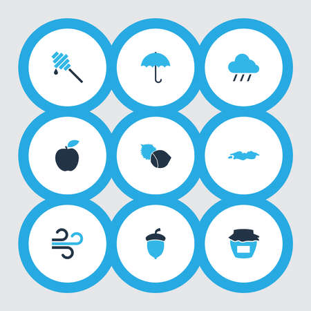 Autumn icons colored set with jam, oak nut, puddle and other weather elements. Isolated vector illustration autumn icons. Illustration