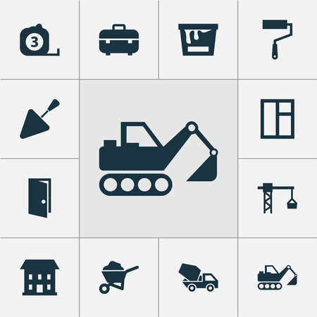 Building icons set with wall painter, toolbox, excavator and other entrance elements. Isolated vector illustration building icons.