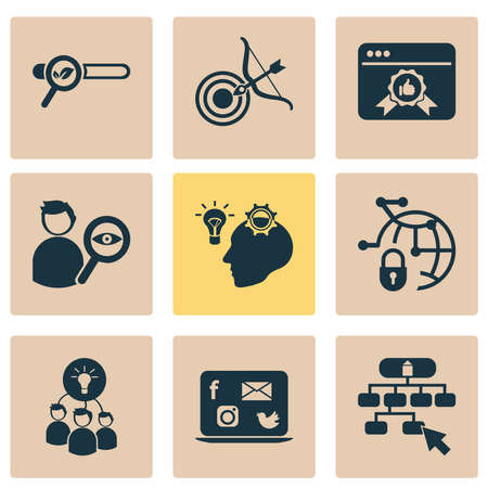 Finance icons set with brainstorming, targeting, creative idea and other professional elements. Isolated vector illustration finance icons.