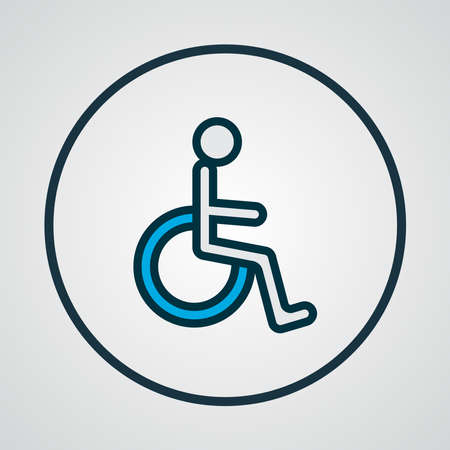 Wheelchair icon colored line symbol. Premium quality isolated disabled sign element in trendy style. Ilustracja