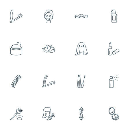 Salon icons line style set with mascara, face mask, haircut and other bristle elements. Isolated vector illustration salon icons. 向量圖像