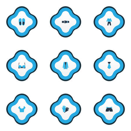Clothes icons colored set with tie, blouse, pyjamas and other strap elements. Isolated vector illustration clothes icons.