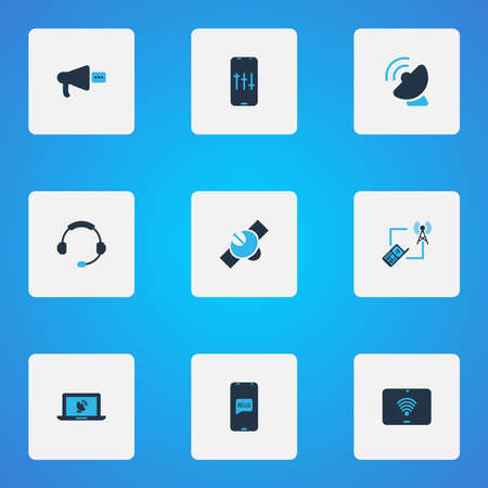 Connection icons colored set with online communication, audio adjustment, tablet wifi and other headset elements. Isolated vector illustration connection icons.