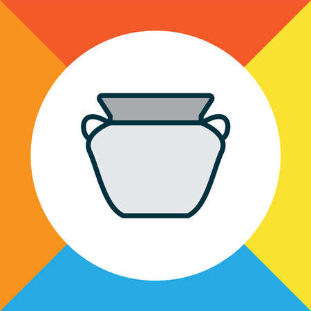 Clay pot icon colored line symbol. Premium quality isolated pottery element in trendy style.