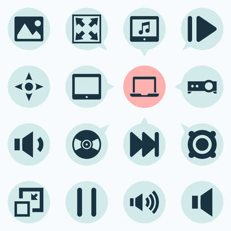 Media icons set with tablet, mute, volume up and other amplifier elements. Isolated vector illustration media icons. 스톡 콘텐츠 - 140769202