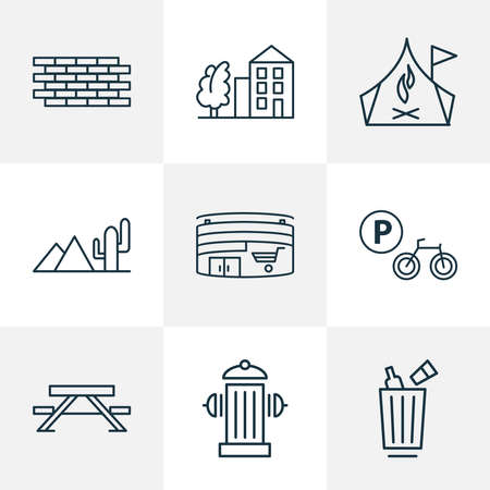 Public. Skyline icons line style set with picnic table, street trash urn, desert and other bench elements. Isolated vector illustration public. Skyline icons. Ilustracja