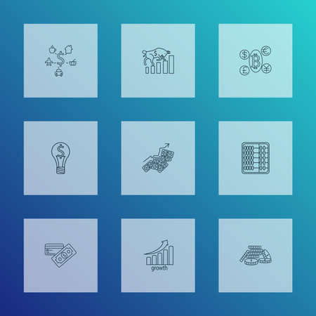 Commerce icons line style set with bull market, smart solution, cryptocoin and other increase elements. Isolated vector illustration commerce icons.