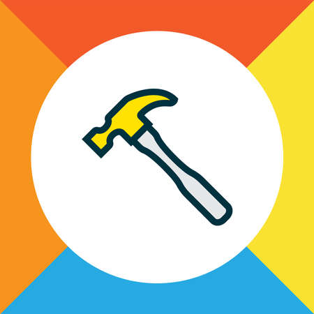 Hammer icon colored line symbol. Premium quality isolated carpentry element in trendy style.