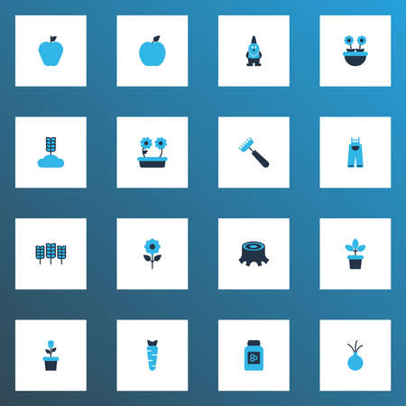 Farm icons colored set with apple, carrot, floral and other garlic elements. Isolated vector illustration farm icons.
