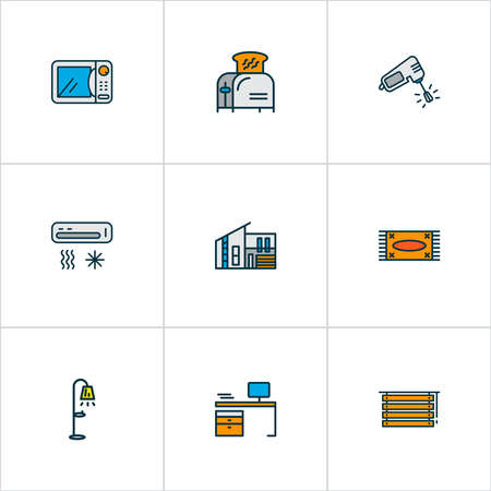 House icons colored line set with louvers, toaster, air conditioner and other jalousie elements. Isolated vector illustration house icons.