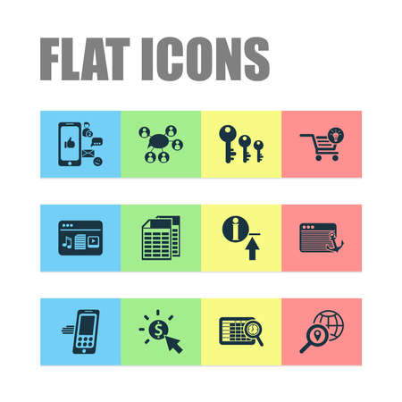 Analytics icons set with social media, pay per click, spreadsheets and other document elements. Isolated vector illustration analytics icons.