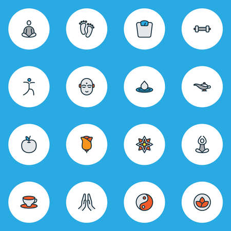 Meditation icons colored line set with scales, water drop, flower and other coffee glass elements. Isolated vector illustration meditation icons.