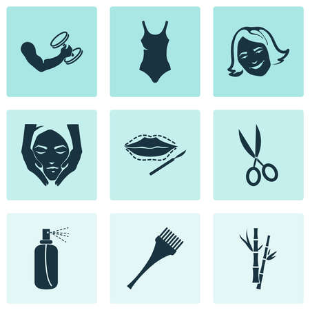 Cosmetics icons set with hair dye brush, fitness, happy girl and other branch elements. Isolated vector illustration cosmetics icons.