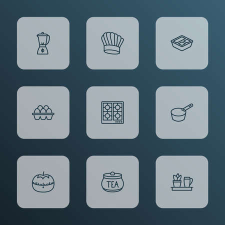 Culinary icons line style set with tea container, blender, kitchen plant and other jar elements. Isolated vector illustration culinary icons.